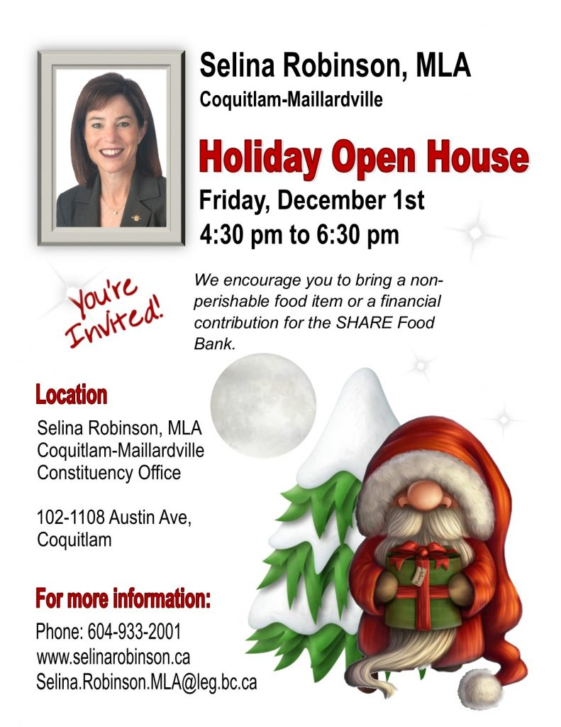 Selina's Holiday Open House @ Community Office, Selina Robinson, MLA  | Coquitlam | British Columbia | Canada