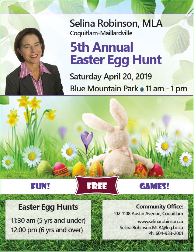 MLA Selina Robinson's 5th Annual Easter Egg Hunt @ Blue Mountain Park